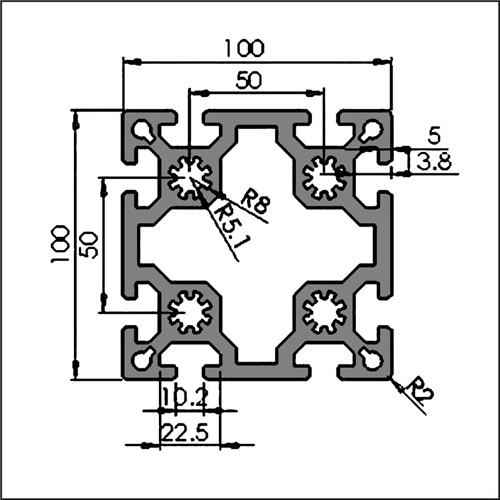 Aluminum-t-slot-10-100100-CAD